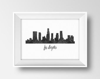 los angeles city skyline la black and white watercolor los angeles silhouette poster