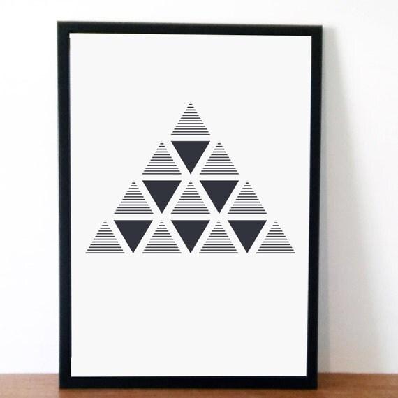 Grey Triangles Minimal Geometric Print Nordic
