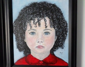 "Girl in Red by J. Kaiden 9"" x 12"" Original Acrylic Painting Portrait Fantasy Framed"