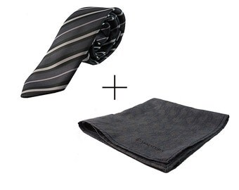 Package black striped tie and grey scarf