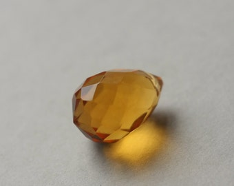 Faceted Glass Briolette, Honey Yellow Pendant, Amber Yellow Bead, Faceted Pendant, Focal Bead, Faceted Glass Pendant