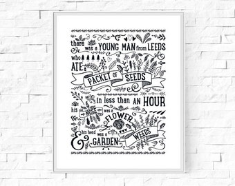 "There Was A Young Man From Leeds Limerick Print - Instant Download - Typography Wall Art - Contemporary Poster - 8""x10"" and A4."