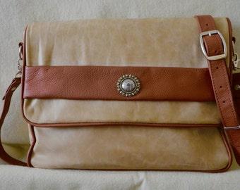 All Leather Tan and Brown Handbag
