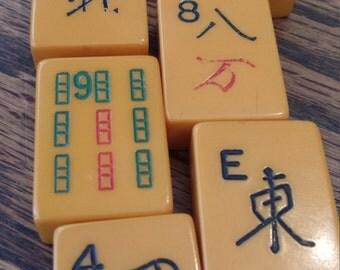 7 vintage mahjong tiles