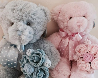Baby Clothes Bouquet and Teddy