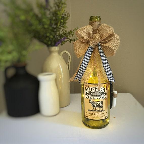 Country Home Decor/Wine Bottle Light/Cordless Lamp /Farmhouse Decor/Virginia Wine/Burlap/Gingham/Vineyard Decor/Goat Farm Animal/Repurposed