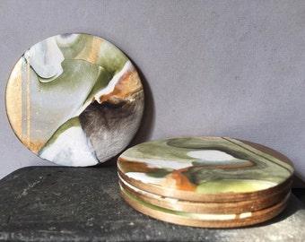 Kiwi Gold Coasters (Set of 4)