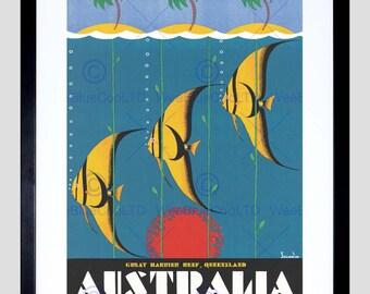 Travel Advert Great Barrier Reef Queensland Australia Poster Art FE980PY