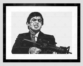 scarface tattoo inked ikons al pachino framed art print by wmaguire f12x10614