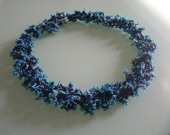 Beaded Necklace in blue metallic