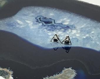 Sapphire Triangle Stud Earrings