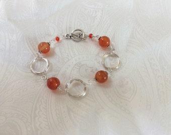 Carnelian and Silver Wire Bracelet