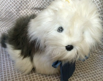 """Vintage 15"""" commonwealth white and grey stuffed dog plush toy"""