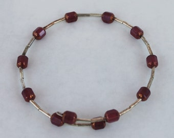 Red-Purple and Silver Beaded Circular Band Bracelet
