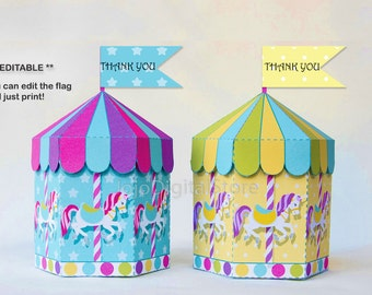 EDITABLE Unicorn Carousel Favor Box