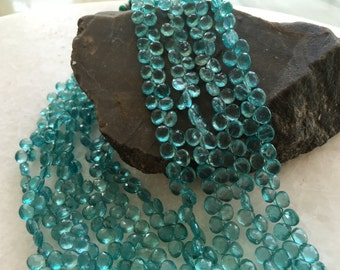 Exclusive Quality Aqua Apatite faceted Briolette Heart 7 mm approx , 8 inch strand