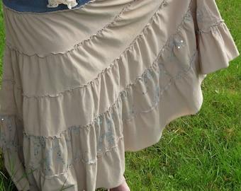 Upcycled Jean and Corduroy Boho Skirt
