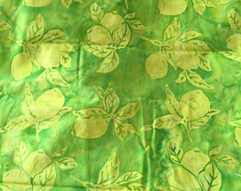 Green and Yellow Lemon Batik Fabric