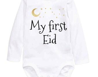 My First Eid Bodysuit, onesie, ramadan,eid, mobarak, Islam, baby wear