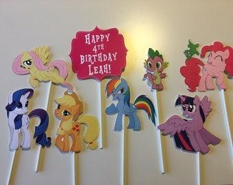 Set of 8 - My Little Pony Centerpiece Picks - Rainbow Dash, Fluttershy, Twighlight Sparkle, Rarity, Pinkie Pie, Applejack, Spike
