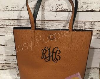 Leather monogram tote bag