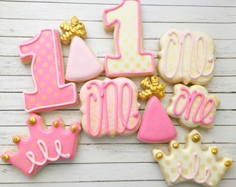 One Dozen 1st Birthday Cookies