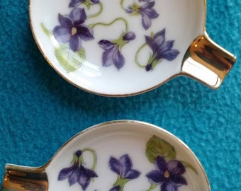 Violet Floral Ashtrays with Gold Trim