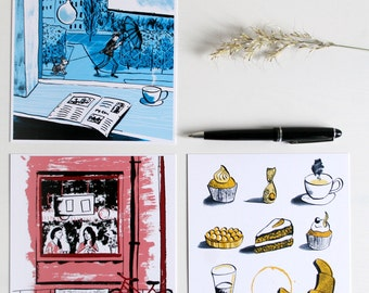 Postcards, set of Café