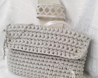 Clutch or handbag, trapillo crochet
