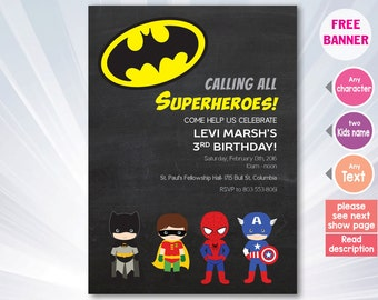 Super hero invitation - superhero birthday party - boy girl invitation - invitation - personalized - printable superhero invitation
