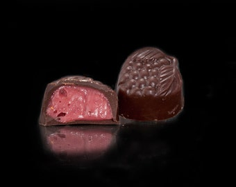 Dark Chocolate Raspberry Creams  1 dozen per box