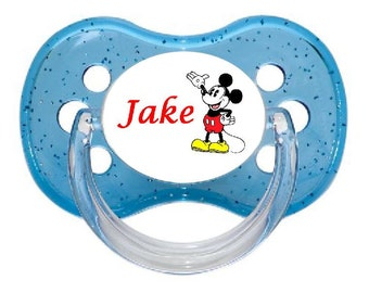 PERSONALISED Dummy Pacifier Soother, All Teats, Sizes & Colours, MOUSE
