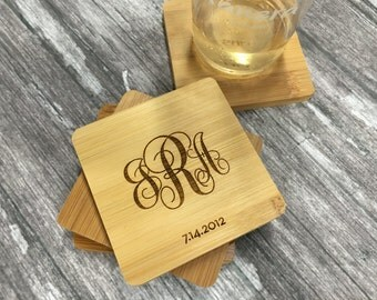 Monogram Coasters | House Warming Gift Ideas | Wood Coaster Set of 4 | Monogrammed | Gift for Her | Gift for Women | Established Gift Ideas