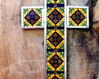 SALE Big Mexican cross yellow brown green designs in ceramic tiles mounted in metal wall decor vintage look hand made