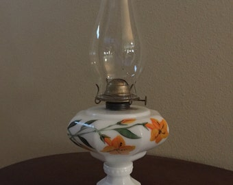 Vintage Milk Glass with Floral Base Hurricane Oil Lamp