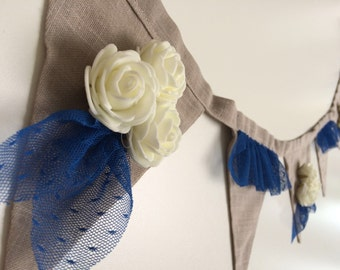 Banner wall hanging , blue and white linen banner