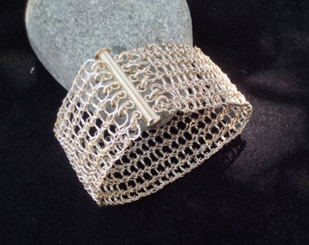 Knitted Silver Wire Bracelet