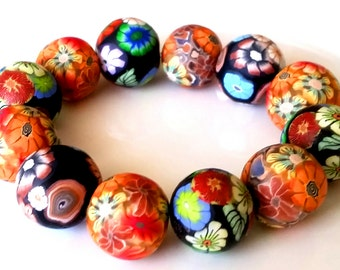 Beads 12 polymer clay, mix beads, floral, floral beads, mixed bag, big beads