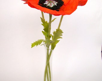 Red poppies from Japanese self-hardening polymer clay (cold porcelain)