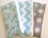 Baby Burp Cloths - Set of 3 - Foxes, Chevron, and Dandelions in Aqua and Gray