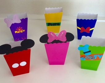 Mickey and Minnie Mouse Clubhouse Friends Popcorn Snack Favor Boxes Birthday Party Container Supplies
