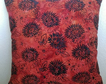 Chrysanthemum Print Batik Stuffed Throw Pillow with Orange Batik Back