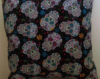 Sugar Skull Throw Pillow with Black Back