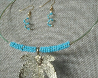Necklace Earrings w/ gold leaf, turquoise