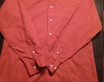 Tommy Hilfiger red button down vintage