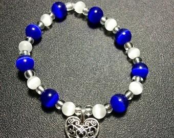 Heart Stretch Bracelet - Blue and White Cat's Eye