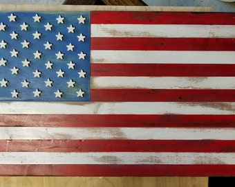 Wall Mountable United States Flag (Rustic or Polished)