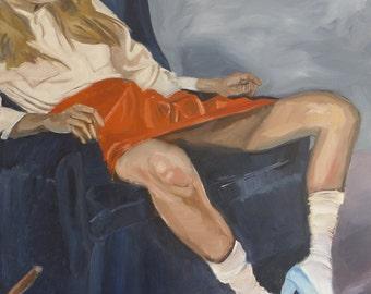 Original oil painting of girl