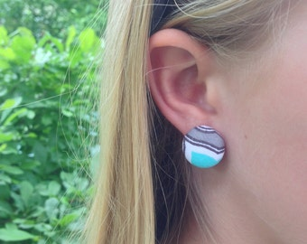 Teal Mosaic Button Earrings