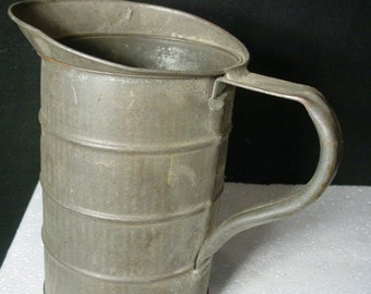 Tin Measure Antique Farmhouse Primitive 1800s Vintage Quart Measuring Cup